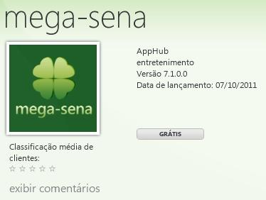 megasena windows phone 7 app