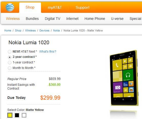 Lumia 1020 a venda na AT&T por 299 nokia windows phone