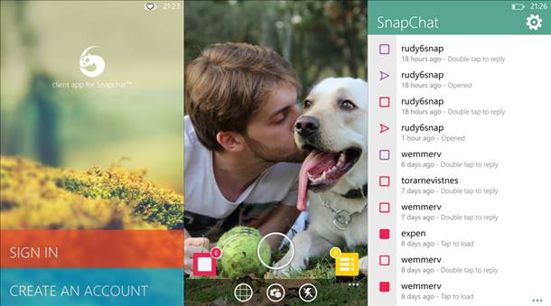 6snap app snapchat windows phone 8 principal
