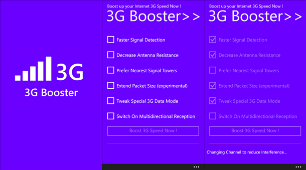 3g internet booster windows phone app