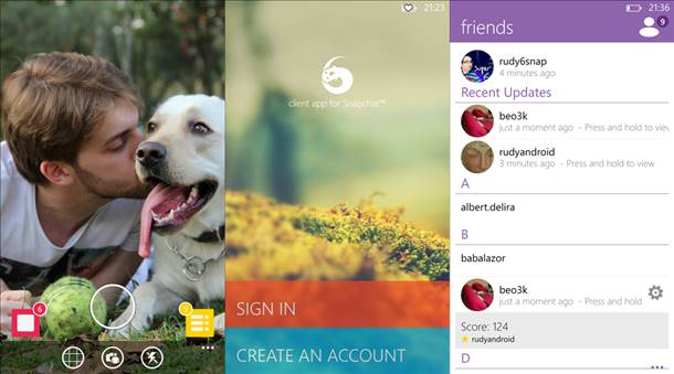 6snap snapchat app windows phone