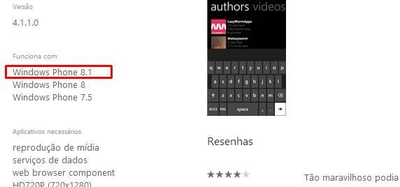 aplicativo marcado compativeis windows phone blue store