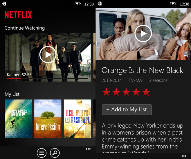 netflix app windows phone