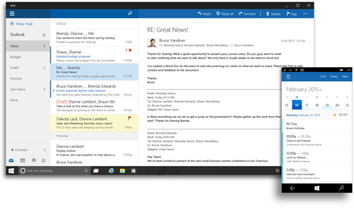 Office Windows 10 outlook