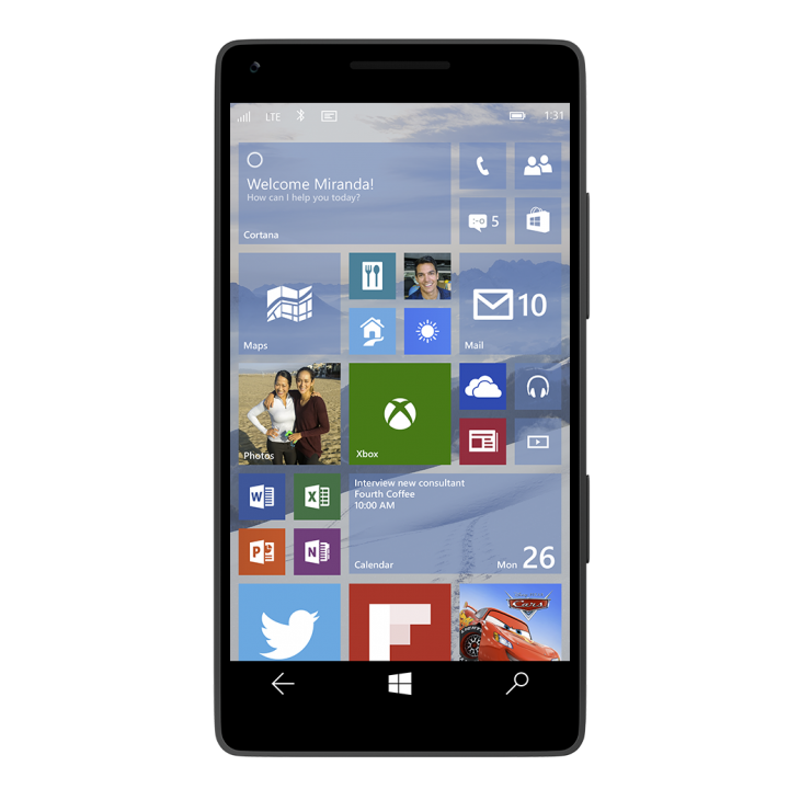 windows 10 smartphone home screen