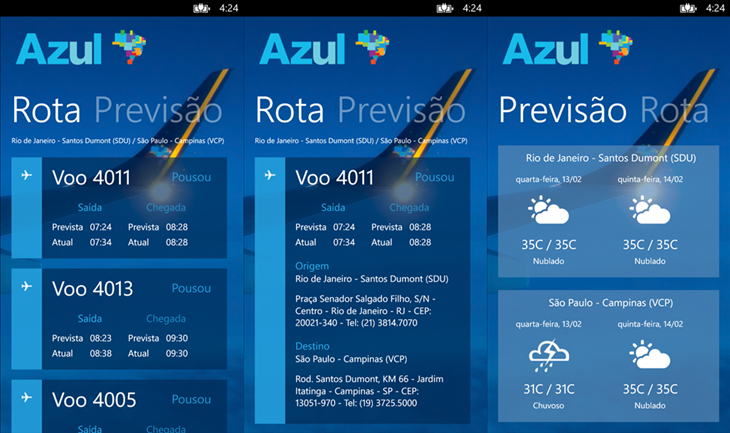 azul status do voo windows phone