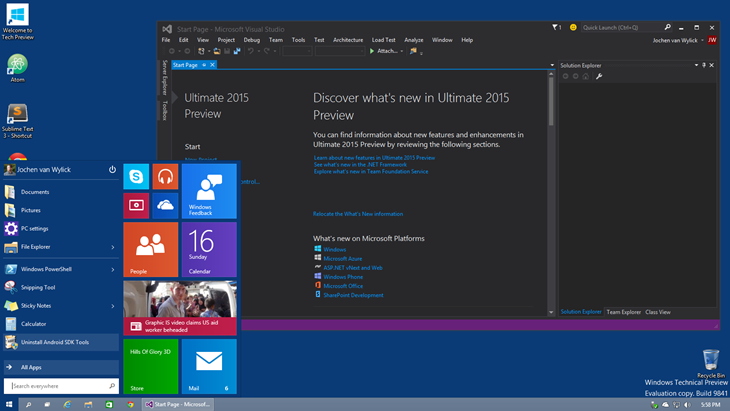 visual studio 2015 windows 10 download