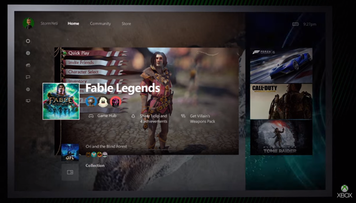 dashboard xbox one windows 10 img1