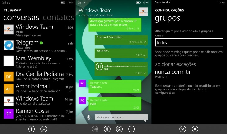 Telegram Messenger para o Windows Phone