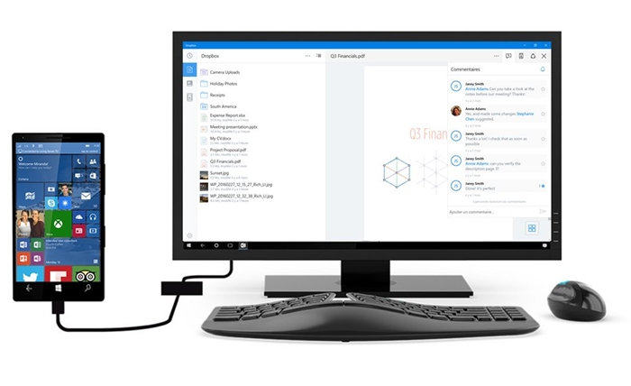 dropbox continuum suporte windows 10