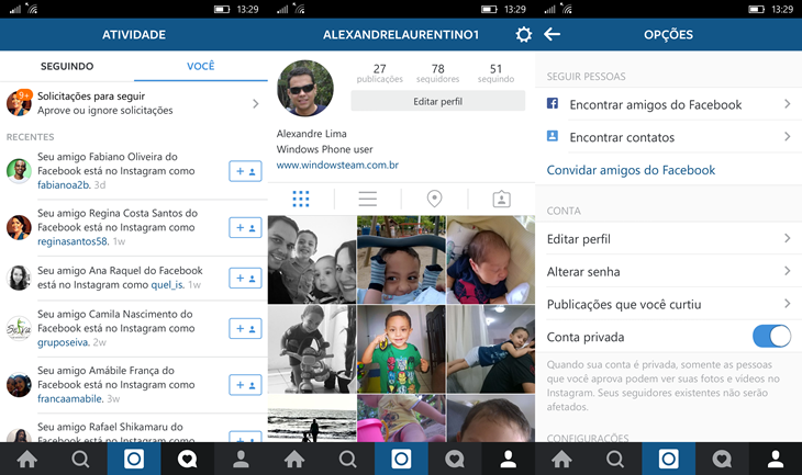 instagram beta novo windows 10 mobile img2