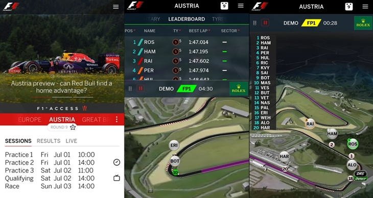 formula 1 app oficial windows 10 mobile