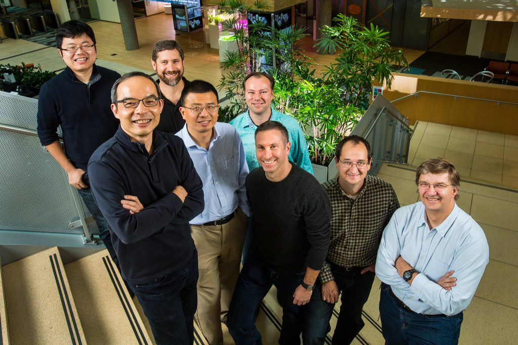 For Microsoft Technology and Research: A research team photographed in Microsoft's Building 99 in Redmond, Wash. on Thursday, October 13, 2016. Photo by Dan DeLong