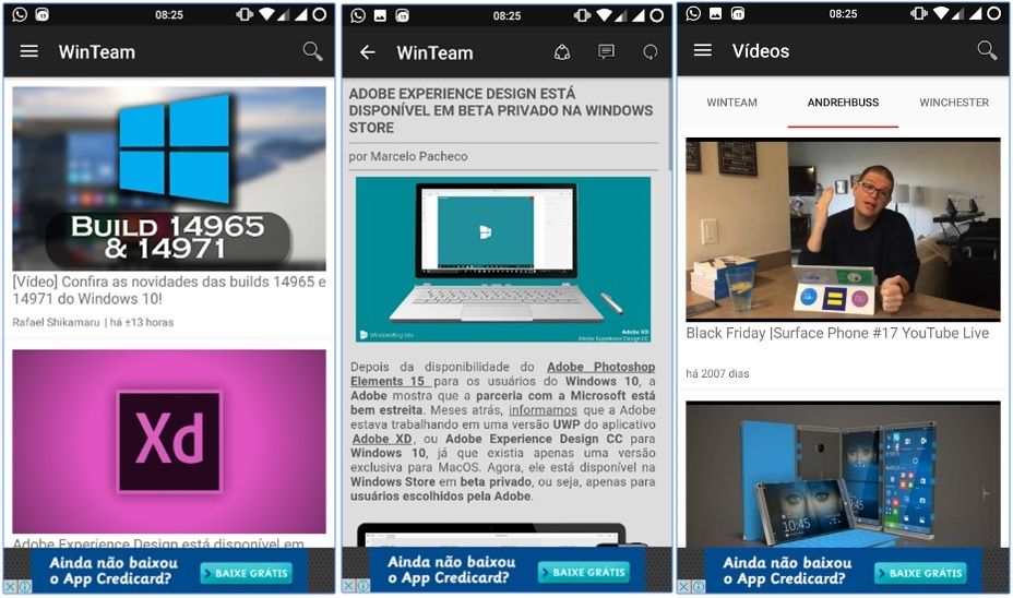 APP oficial do Windows Team disponível para o Android e mais