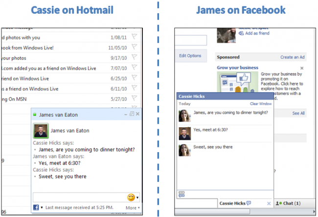 chat facebook hotmail