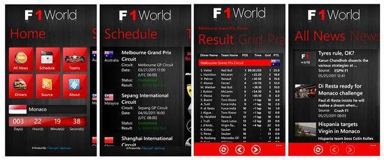 F1World é um App para WP7 feito para os fãs da Fórmula 1