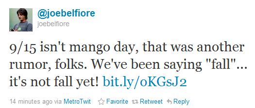 joe belfiore tiwtter rumor mango 1509