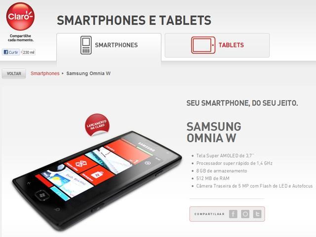 Samsung Omnia W aparece em site da Claro