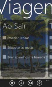 lista de viagens app wp7