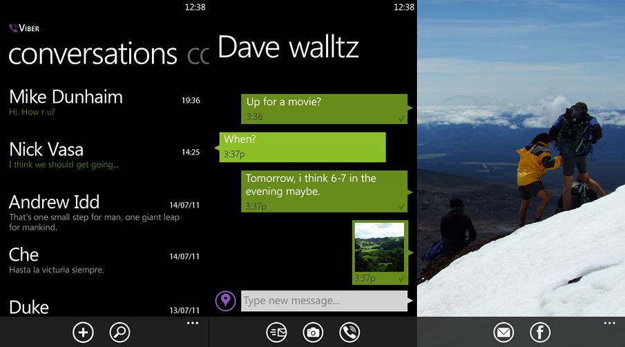 viber screens for windows phone