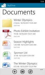 sky-drive-windows phone app