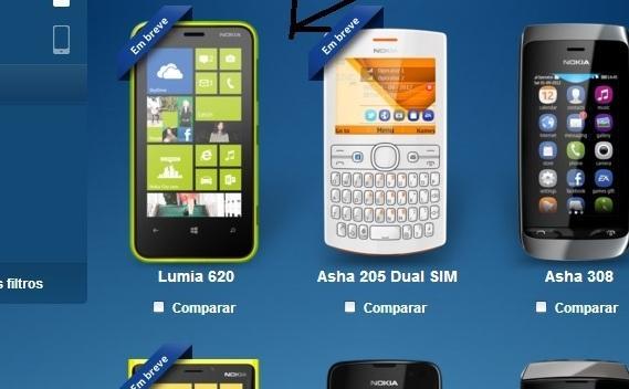 """Imagem do Lumia 620 no site Oficial da Nokia com a tarja """"Em Breve"""""""
