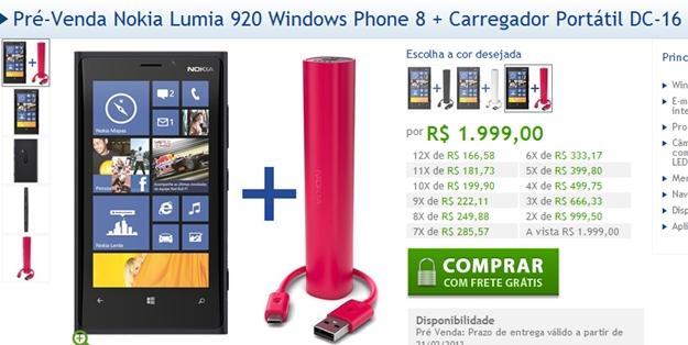 pre venda do nokia lumia no site oficial da nokia brasil