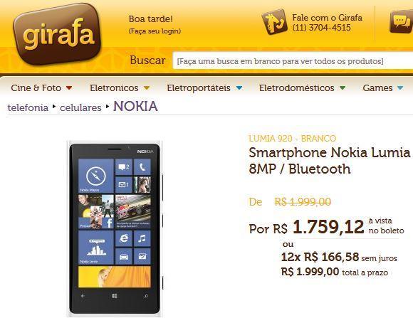 lumia 920 a venda no girafa loja online