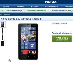 nokia lumia 820 na loja online da nokia