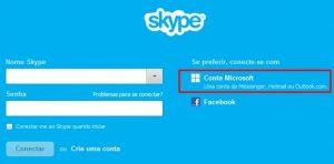 skype login conta microsoft