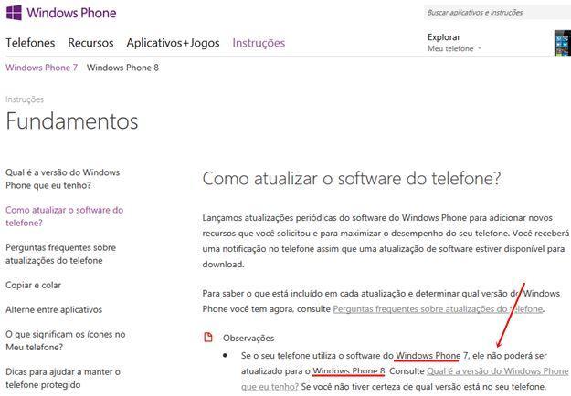 Erro grotesto no site oficial do windows phone para o brasil