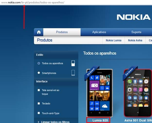 Lumia 925 site nokia brasil