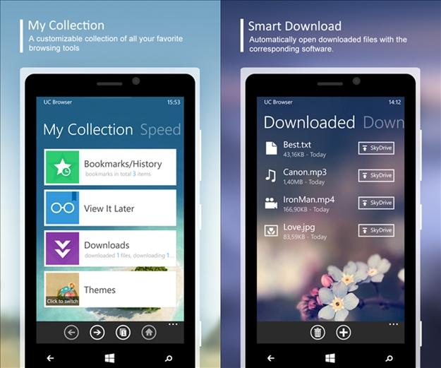 UC Browser windows phone smart download e my collection