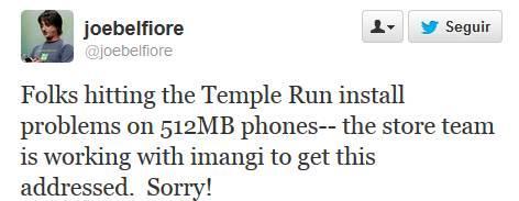 temple run joe belfiore 512 mb de ram
