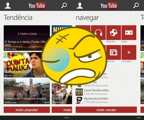 Youtube aplicativo novo windows phone microsoft bloqueio