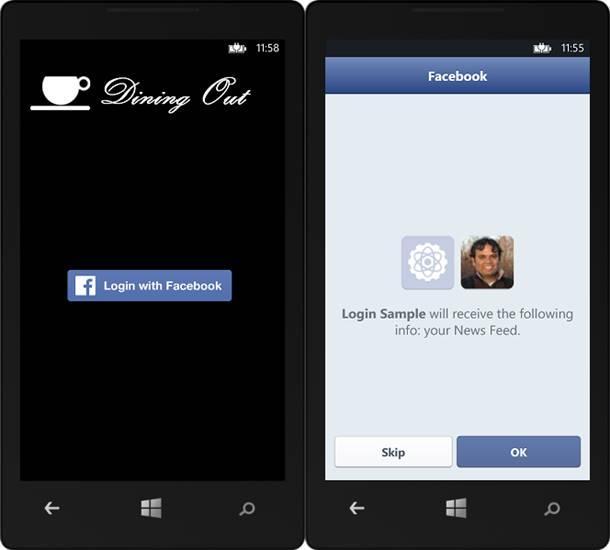 facebook login windows e windows phone 8