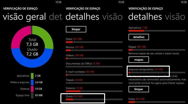 outros arquivos windows phone armazenamento telefone problema