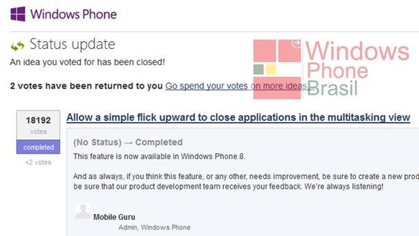 jogar para cima para fechar um app na multitarefa windows phone
