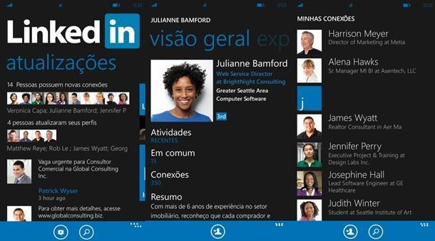 Aqui está o atual APP do LinkedIn para o Windows Phone. Sem dúvida ele deverá virar o UWP para o Windows 10