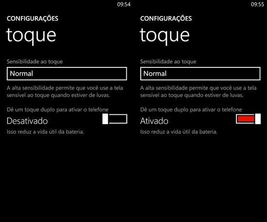 duplo toque para ativar o telefone lumia black windows phone