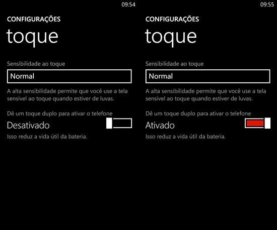 duplo toque para ativar o telefone lumia black windows phone