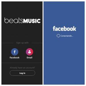 facebook login beats music windows phone