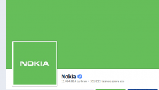 Verde sugestivo no perfil da Nokia no Facebook