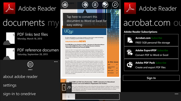 adobe reader app windows phone