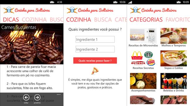 cozinha para solteiros app windows phone