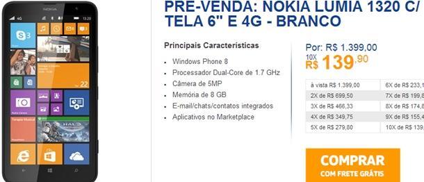 pre venda do Nokia Lumia 1320 loja online da Nokia