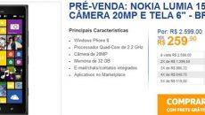 Já começou a pré-venda do Lumia 1520 no site oficial da Nokia