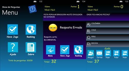 show de perguntas app jogo windows phone