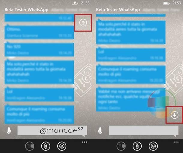 whatsapp beta rolagem dos chats