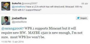 miracaste tweet joe belfiore windows phone 81